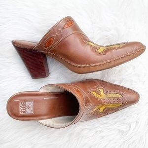 Frye Cowboy Boot Phoenix Slip On Leather Mules 9M
